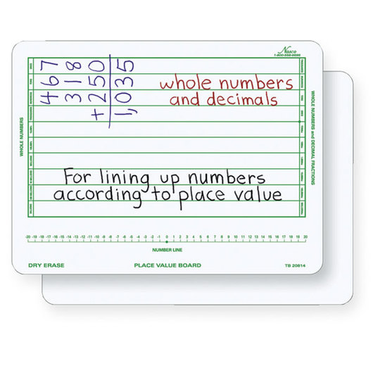 Nasco Double-Sided Place Value Dry-Erase Board