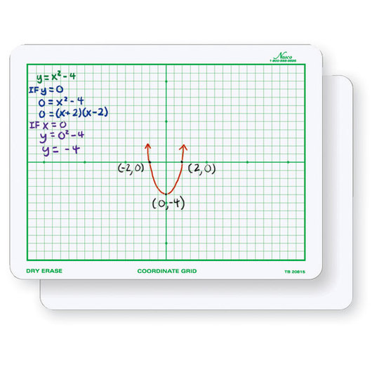 Nasco 9 in. x 12 in. Double-Sided Coordinate Grid Dry-Erase Board