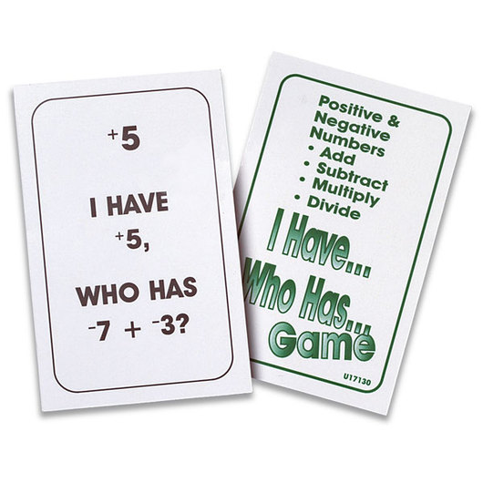 Nasco I Have… Who Has… Positive & Negative Numbers Card Game
