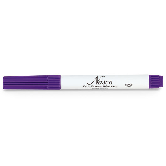 Nasco Cone-Point Dry-Erase Markers - Box of 30 - Purple