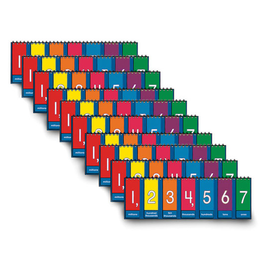 Nasco Place Value to Millions/Decimal Tabletop Student Flip Charts - Set of 10