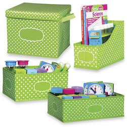 Polka Dot Storage Solutions - Set of 4 Storage Bins - Lime
