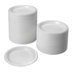 White 9 in. Plastic Disposable Plates