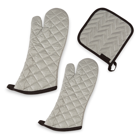 Silver Silicone Mitts and Pot Holder - Set of 3