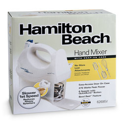 Hamilton Beach® 6-Speed Hand Mixer with Snap-On Case - White