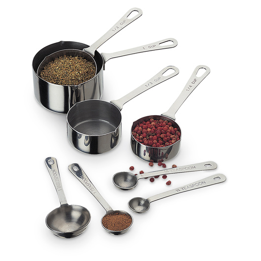 Complete Stainless Steel Measuring Cup and Spoon Set