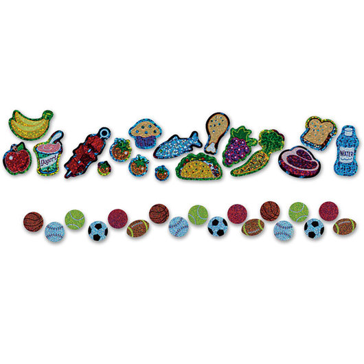 Nutritious & Delicious Sparkle Stickers® - 1/2 Each - 34 Total