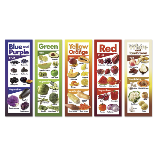 Fruits and Vegetables by Color Poster Set of Five - 8-1/2 in. x 24 in. Each