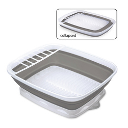 Collapsible Countertop Dish Drainer with Snap-On Drain Board