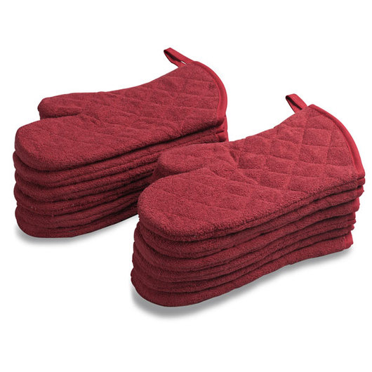 Café Quilted Oven Mitts - Red Brick