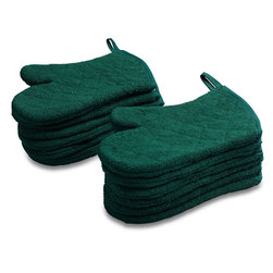 Café Quilted Oven Mitts - Hunter Green