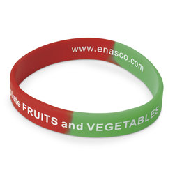 Nasco Silicone Wristbands - Fruits and Veggies - 8 in. x 1/2 in. - Package of 50