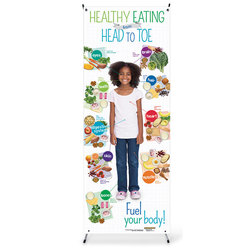 Healthy Eating from Head to Toe Child Vinyl Banner with Stand