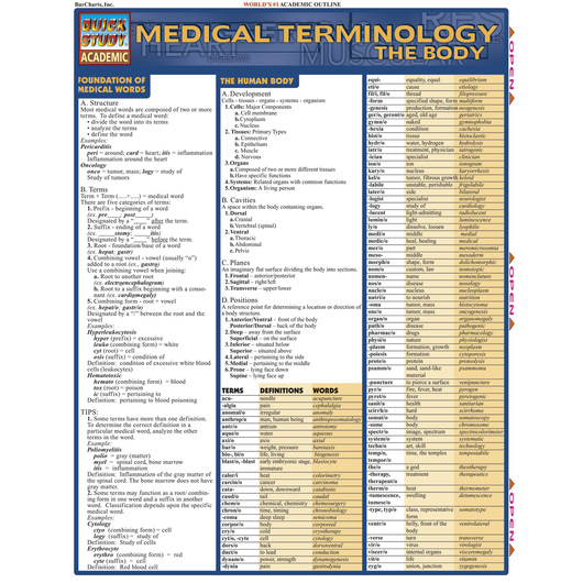 QuickStudy® Medical Terminology: The Body Guide