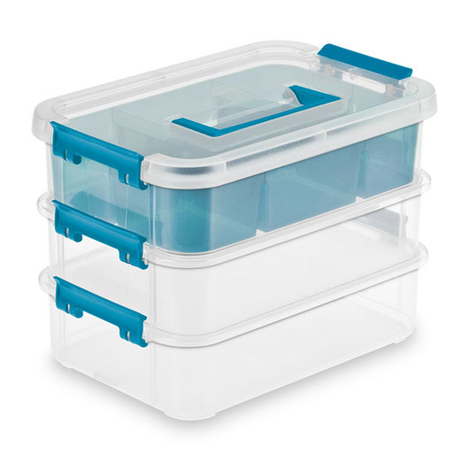 Sterilite® Stack & Carry Three-Layer Handle Box and Tray