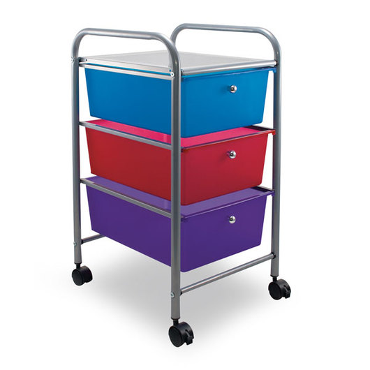 Rolling 3-Drawer Organizer - Multicolored