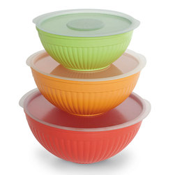 Prep and Serve Mixing Bowl SixPiece Covered Set