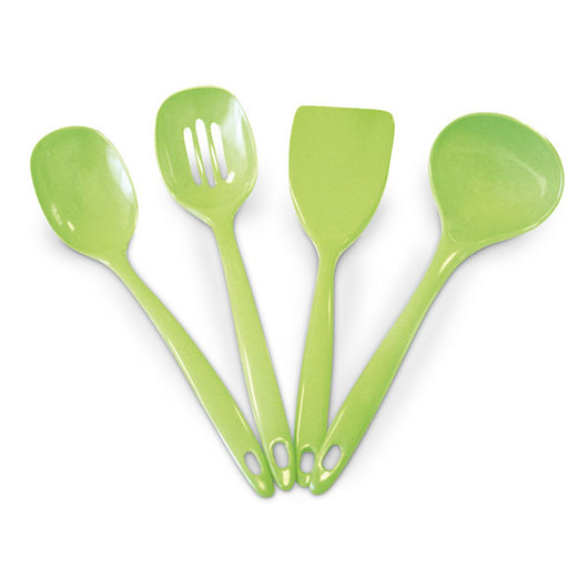 Colored Melamine Serviceware - Four-Piece Utensil Set - Green