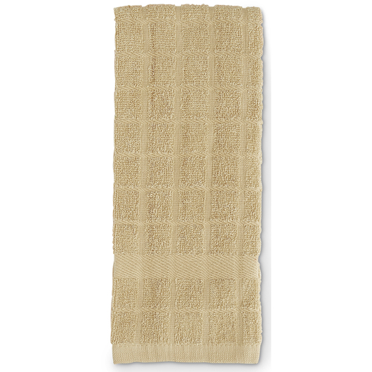 Solid Windowpane Terry Kitchen Towels - 16 in. x 26 in. - Pack of 6 - Tan