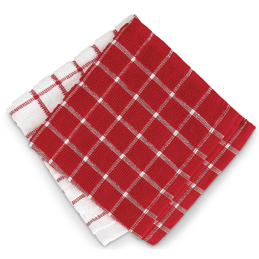 Windowpane Terry Dishcloths - 12 in. x 12 in. - Pack of 12 - Red