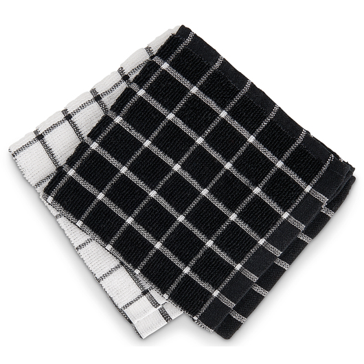 Windowpane Terry Dishcloths - 12 in. x 12 in. - Pack of 12 - Black