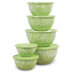 Marbled Bowl Set - 12 Pieces - Green