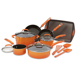 Rachael Ray® - 14-Piece Porcelain Cookware Set - Orange