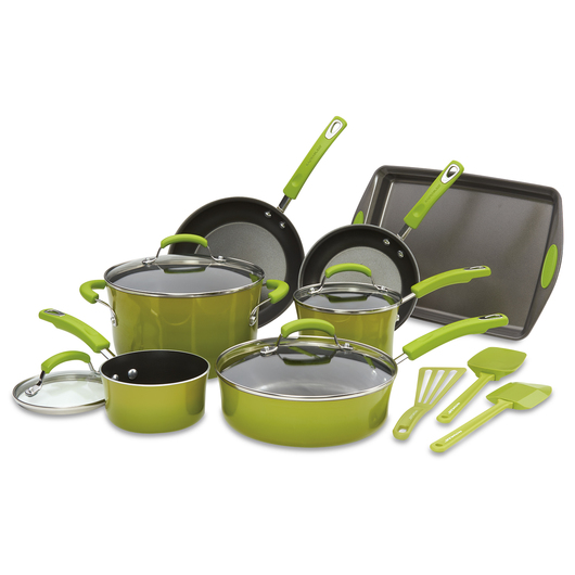 Rachael Ray® - 14-Piece Porcelain Cookware Set - Green