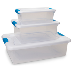 Latch Box Clear Storage Containers - Set of 3