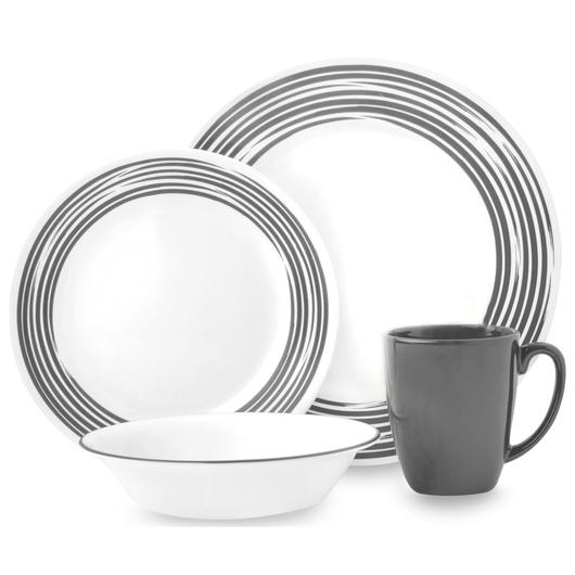 Corelle® Boutique™ Brushed 16-Piece Dinnerware Set - Brushed Silver