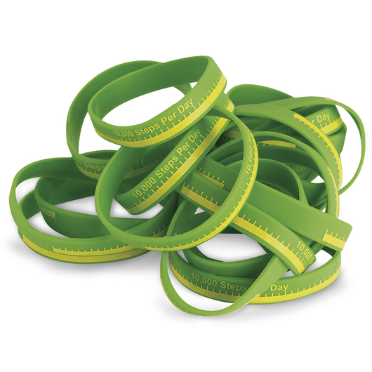 10,000 Steps Silicone Bracelets - 8 in. dia. - Pkg. of 20