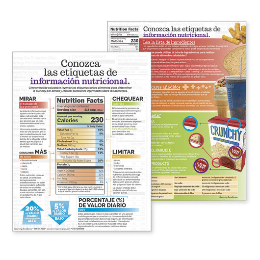 Get to Know Nutrition Facts Labels - Tablet - 8-1/2 in. x 11 in. - 50 sheets - (Spanish)