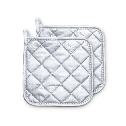 7 in. Silver Silicone Potholder - Set of 2
