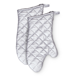 13 in. Silver Silicone Mitt - Set of 2