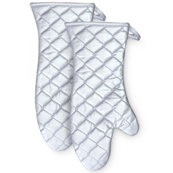 16 in. Silver Silicone Mitt - Set of 2