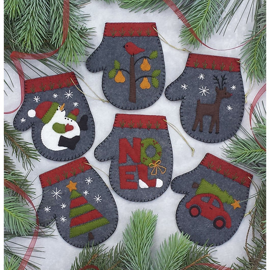 Ornament Sewing Kit - Charcoal Mittens