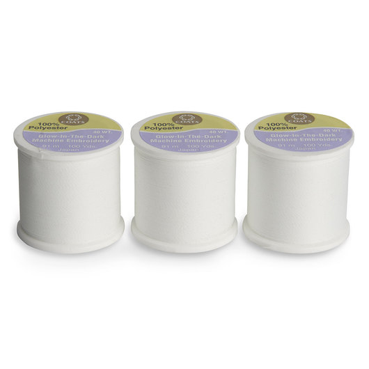Coats & Clark Glow-in-the-Dark Thread Pack of 3 - White