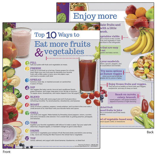 Top 10 Ways to Eat More Fruits and Vegetables - Tablet - 8-1/2 in. x 11 in. - Pack of 50