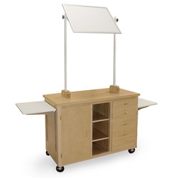 Mobile Demonstration Table with Side Shelves