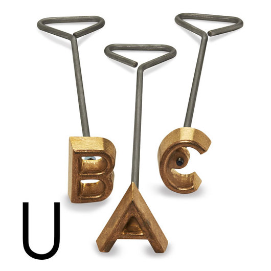 Freeze Branding Iron with Single Standard Letter U - 2 in. High, 1/4 in. Face