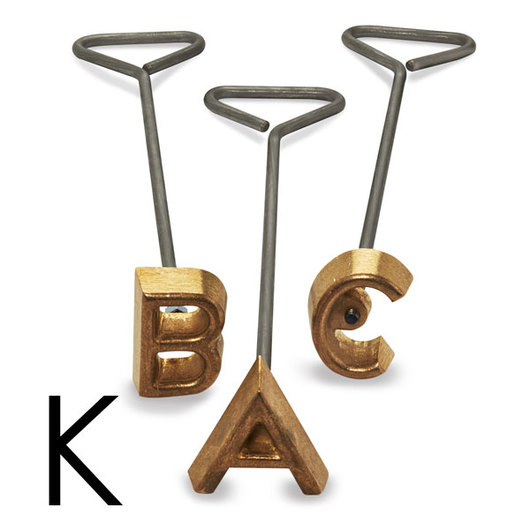 Freeze Branding Iron with Single Standard Letter K - 3-1/2 in. High, 3/8 in. Face