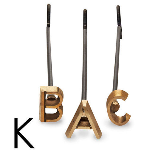 4 in. Heavy-Duty Copper Branding Iron - Letter K