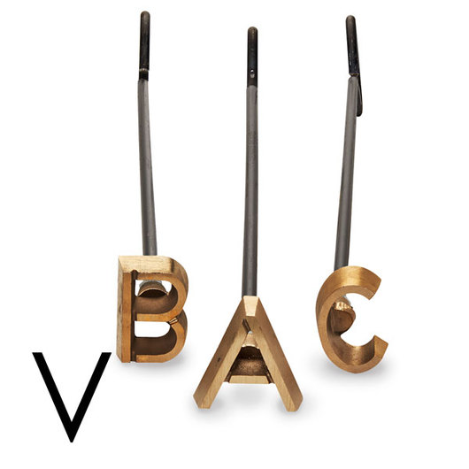 4 Heavy-Duty Copper Branding Iron - Letter V