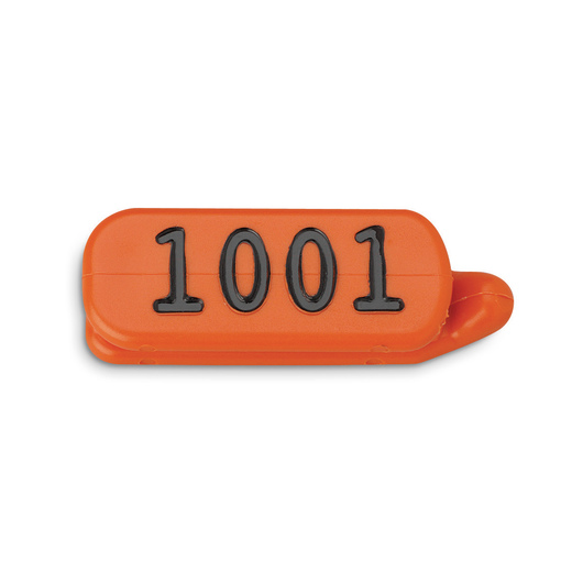 Orange Cattle Temple Livestock Identification Tags with Letters or Numbers (1 Side)