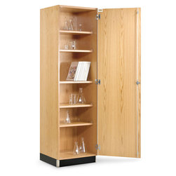 Wall Storage Case with Hinged Oak Doors