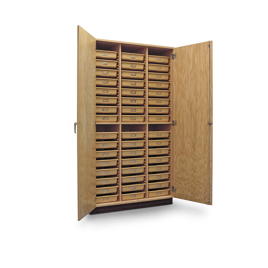 Tote Tray Wall Storage Case with 48 Tote Trays
