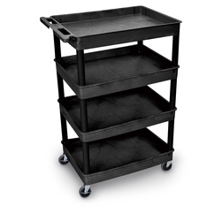 Luxor 4-Tub Shelf Utility Cart - Black