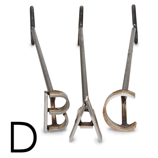 L & H Stainless Steel Branding Iron - 3 in. Single Letter D