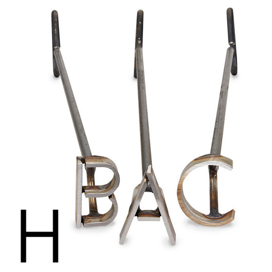 L & H Stainless Steel Branding Iron - 4 in. Single Letter H