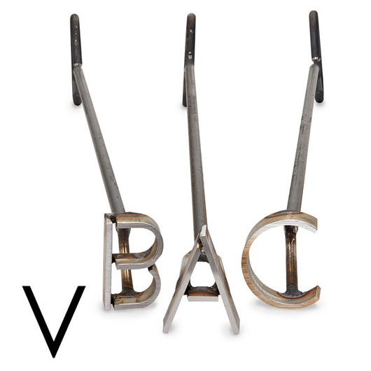 L & H Stainless Steel Branding Iron - 4 in. Single Letter V